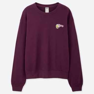 WOMEN PEANUTS LONG-SLEEVE SWEATSHIRT, PURPLE, medium