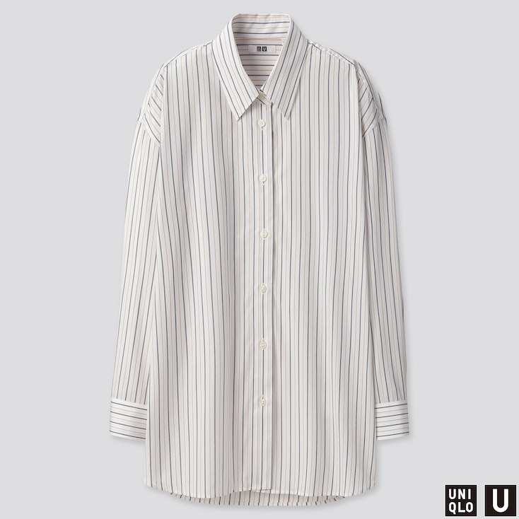 WOMEN U COTTON OVERSIZED STRIPED LONG-SLEEVE SHIRT, OFF WHITE, large