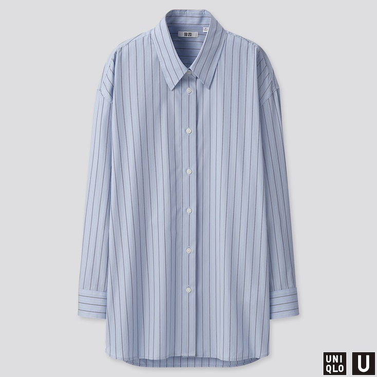 WOMEN U COTTON OVERSIZED STRIPED LONG-SLEEVE SHIRT, BLUE, large