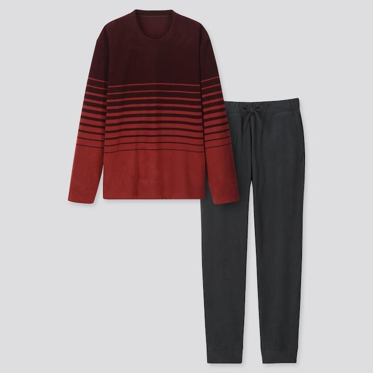 Men Micro Long-sleeve Fleece Set (online Exclusive), Wine, Large