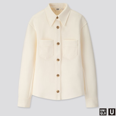 WOMEN U JERSEY DOUBLE POCKET LONG-SLEEVE SHIRT, OFF WHITE, medium