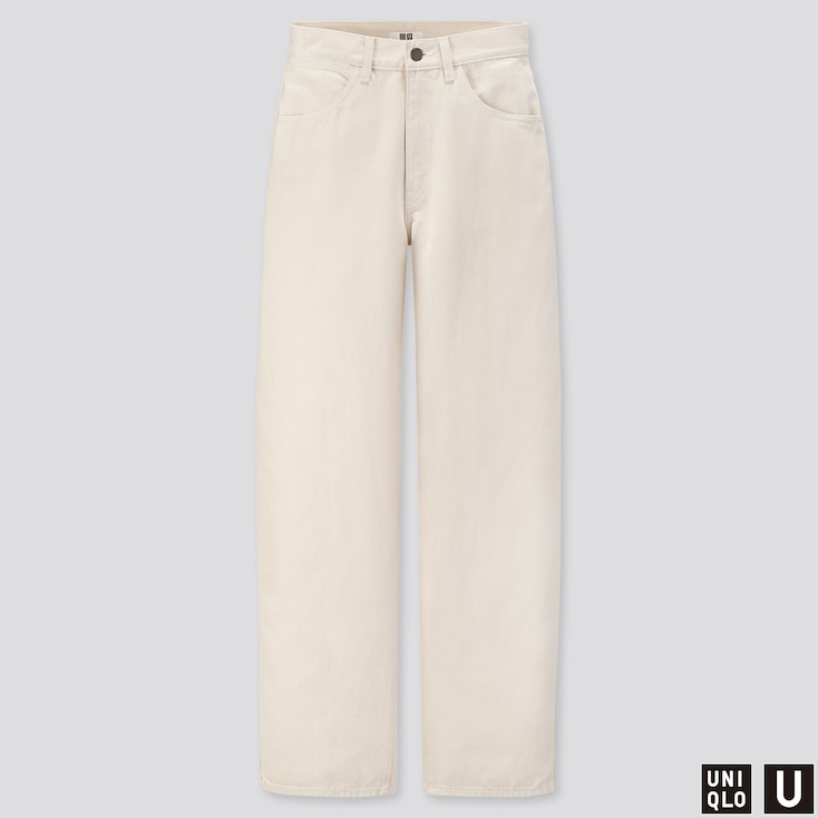 WOMEN U WIDE-FIT CURVED JEANS, OFF WHITE, large