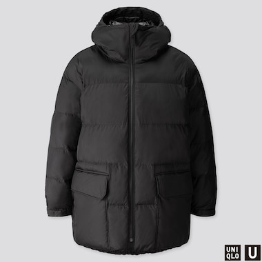 MEN U WARM PADDED PUFFER COAT, BLACK, medium