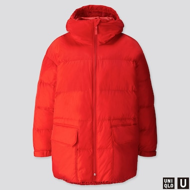 MEN U WARM PADDED PUFFER COAT, RED, medium