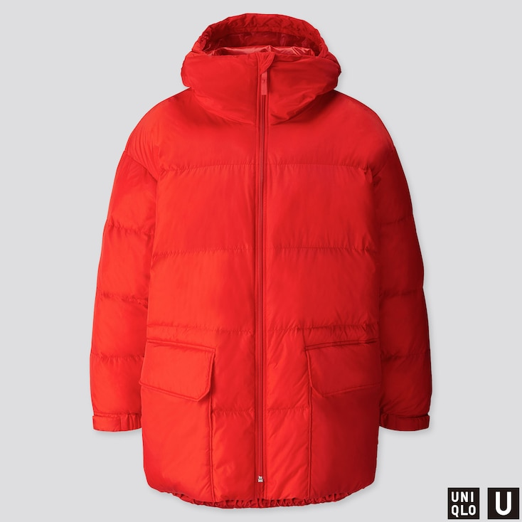 MEN U WARM PADDED PUFFER COAT, RED, large