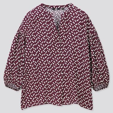 WOMEN PRINTED V NECK VOLUME 3/4 SLEEVED BLOUSE
