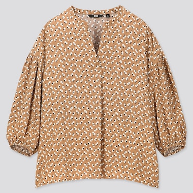 WOMEN PRINTED V-NECK VOLUME 3/4 SLEEVE BLOUSE (ONLINE EXCLUSIVE), BEIGE, medium