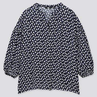 WOMEN PRINTED V-NECK VOLUME 3/4 SLEEVE BLOUSE (ONLINE EXCLUSIVE), NAVY, medium