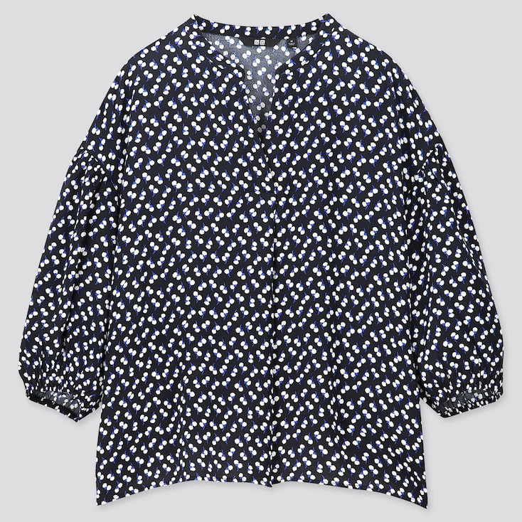 WOMEN PRINTED V-NECK VOLUME 3/4 SLEEVE BLOUSE (ONLINE EXCLUSIVE), NAVY, large