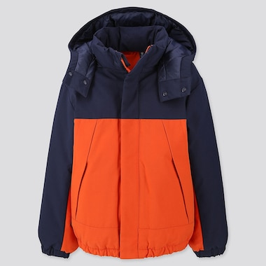 Kids Warm Padded Parka, Orange, Medium