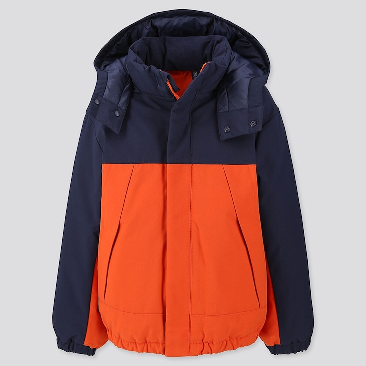 KIDS WARM PADDED PARKA, ORANGE, large
