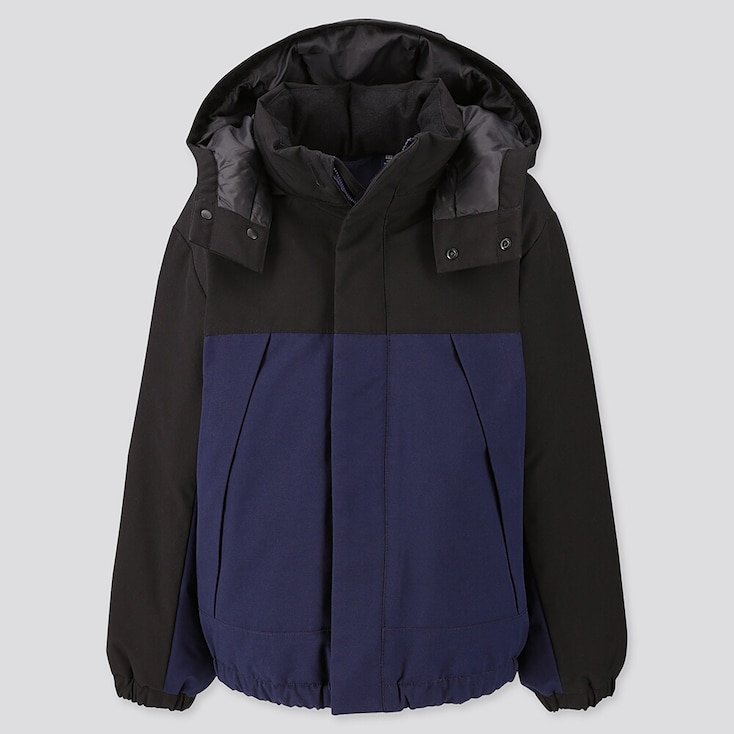 Kids Warm Padded Parka, Navy, Large