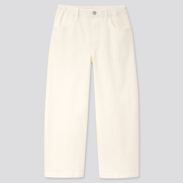 Girls Wide-Fit Jeans, Off White, Large