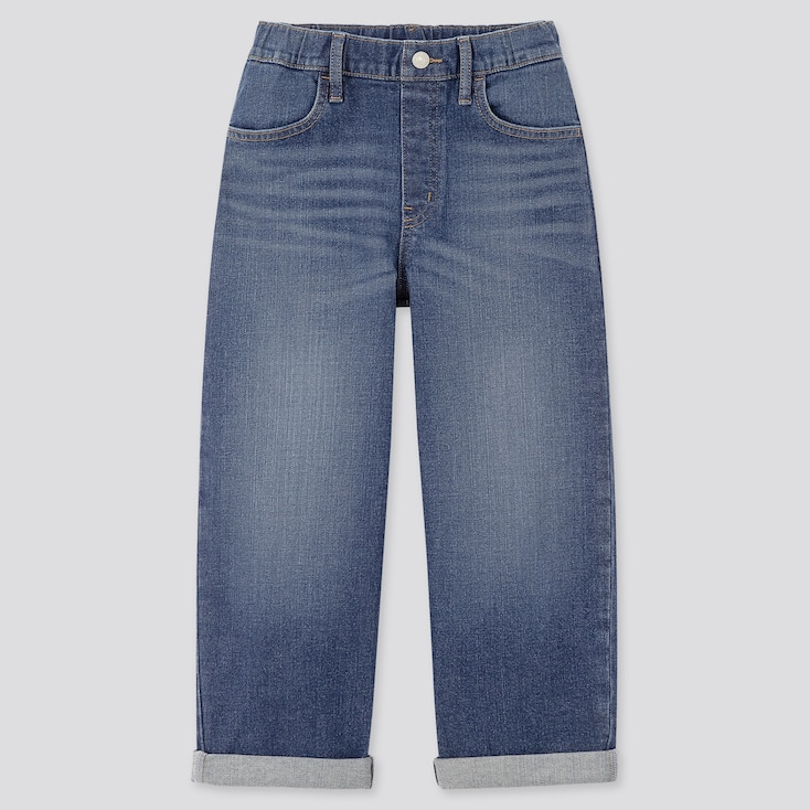 Girls Wide-Fit Jeans, Blue, Large