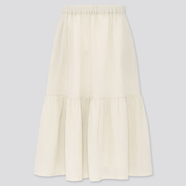 Girls Tiered Long Skirt (Online Exclusive), Off White, Medium