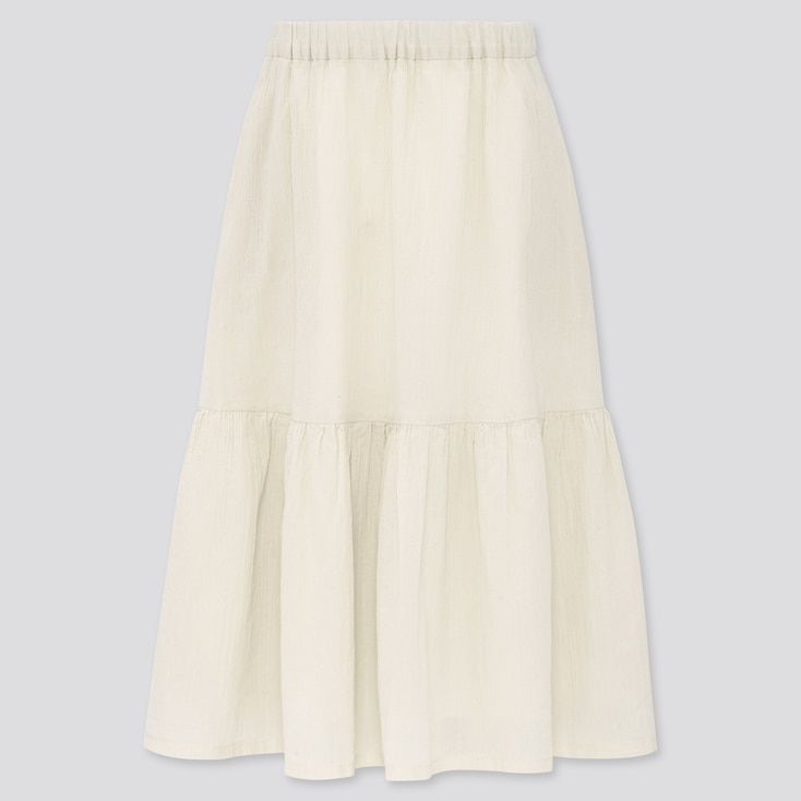 Girls Tiered Long Skirt (Online Exclusive), Off White, Large