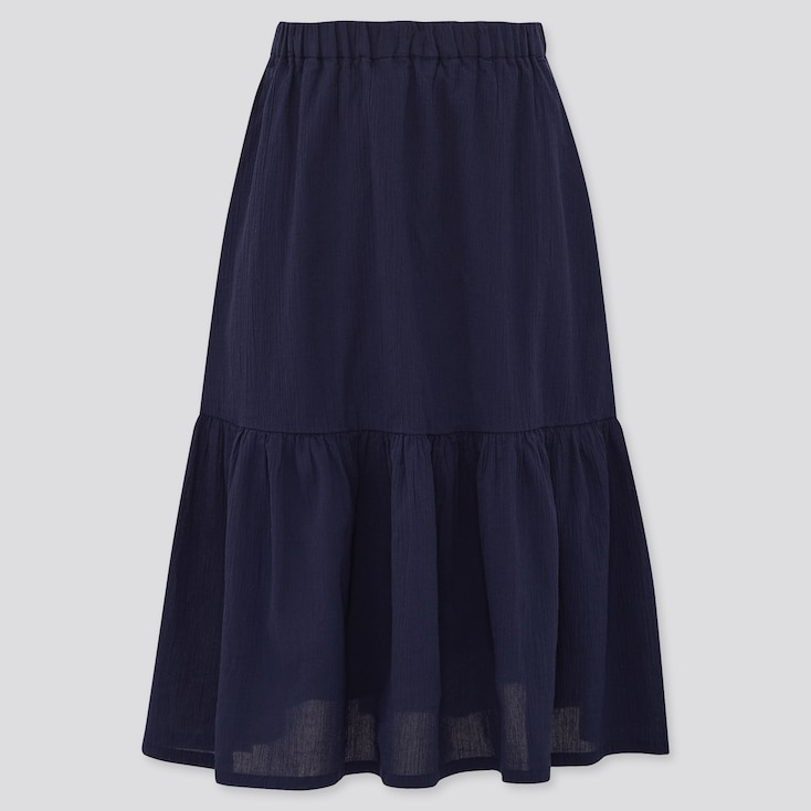 Girls Tiered Long Skirt (Online Exclusive), Navy, Large