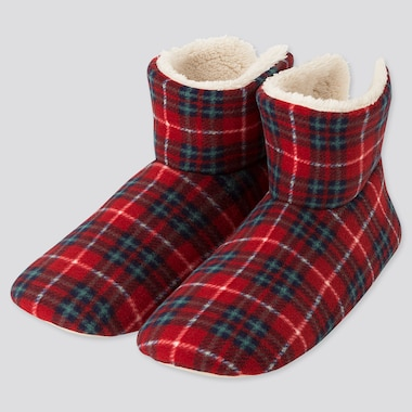 WOMEN PRINTED FLEECE SLIPPERS (ONLINE EXCLUSIVE), RED, medium