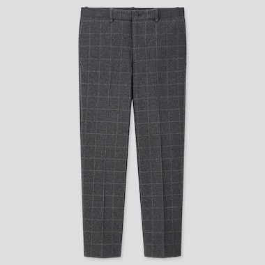 MEN EZY WINDOWPANE ANKLE-LENGTH PANTS, GRAY, medium