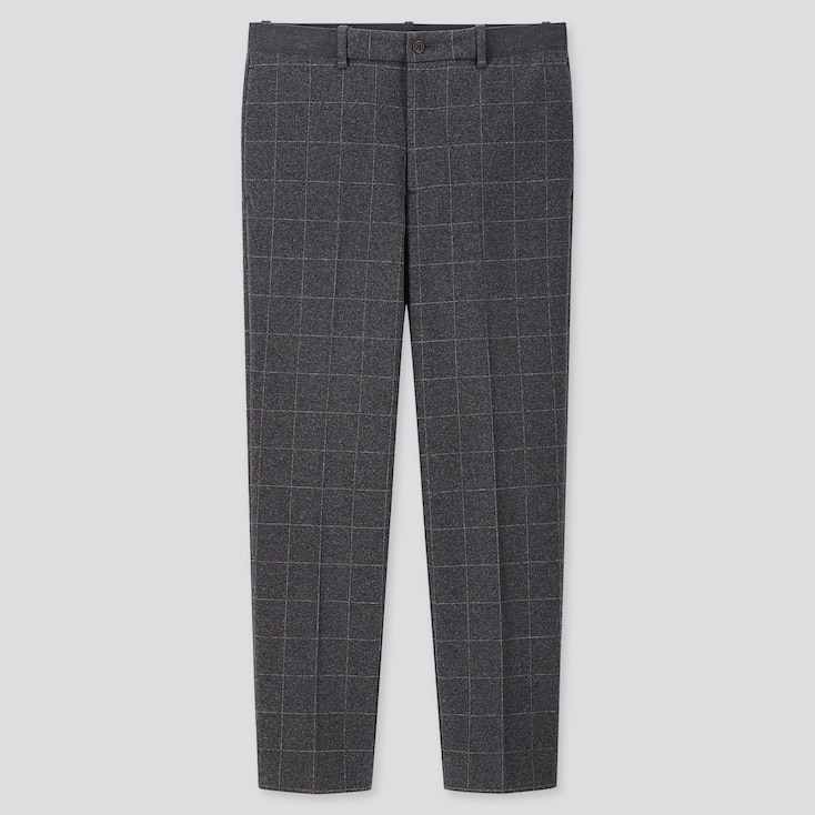 MEN EZY WINDOWPANE ANKLE-LENGTH PANTS, GRAY, large