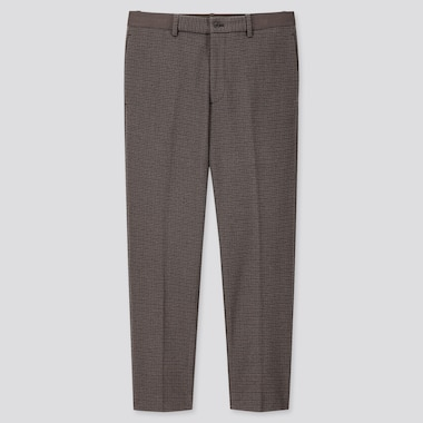 MEN EZY CHECKED JERSEY ANKLE-LENGTH PANTS, BROWN, medium