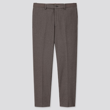 MEN EZY CHECKED ANKLE-LENGTH PANTS, BROWN, medium