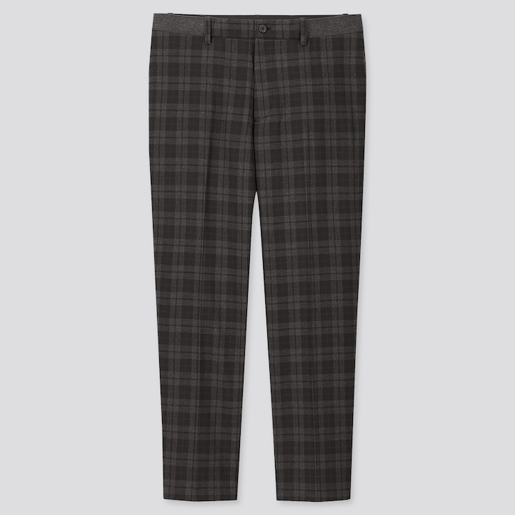 MEN EZY TARTAN CHECKED ANKLE-LENGTH PANTS, DARK GRAY, large