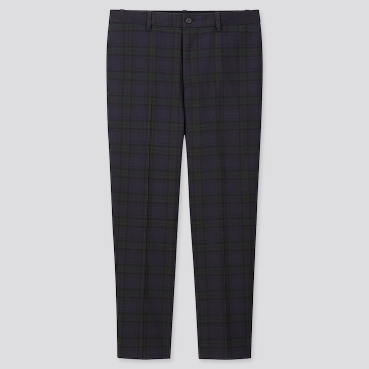 MEN EZY TARTAN CHECKED ANKLE-LENGTH PANTS, BLUE, large