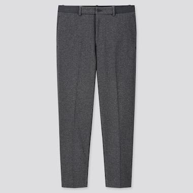 MEN EZY HOUNDSTOOTH ANKLE-LENGTH PANTS, GRAY, medium