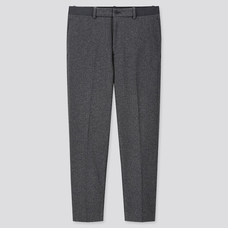 MEN EZY HOUNDSTOOTH ANKLE-LENGTH PANTS, GRAY, large