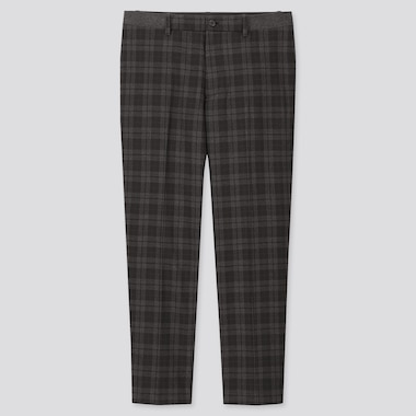 MEN EZY TARTAN CHECKED ANKLE-LENGTH PANTS, DARK GRAY, medium