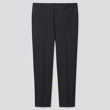 MEN EZY TARTAN CHECKED ANKLE-LENGTH PANTS (ONLINE EXCLUSIVE), BLUE, medium
