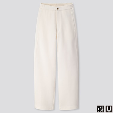 WOMEN U WIDE-FIT CURVED JERSEY PANTS, OFF WHITE, medium