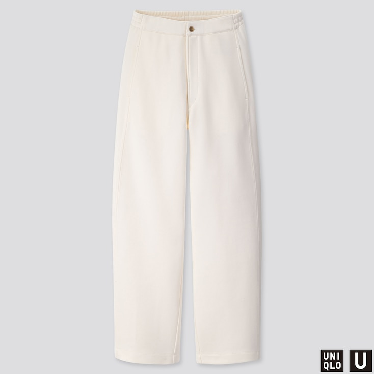 WOMEN U WIDE-FIT CURVED JERSEY PANTS, OFF WHITE, large