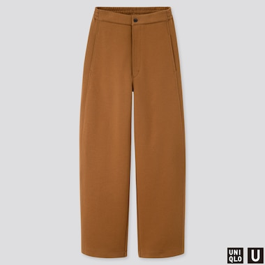 WOMEN UNIQLO U JERSEY WIDE FIT CURVED TROUSERS