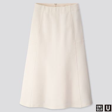 WOMEN U JERSEY FLARED SKIRT, OFF WHITE, medium