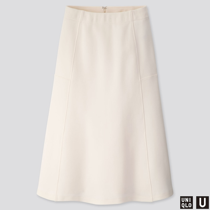 WOMEN U JERSEY FLARED SKIRT, OFF WHITE, large