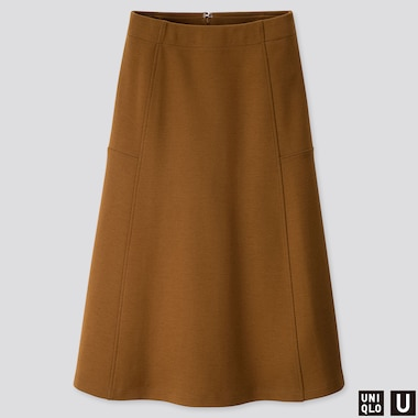 WOMEN U JERSEY FLARED SKIRT, BROWN, medium