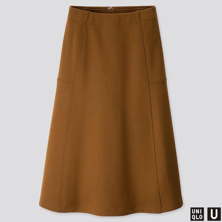 WOMEN U JERSEY FLARED SKIRT, BROWN, large
