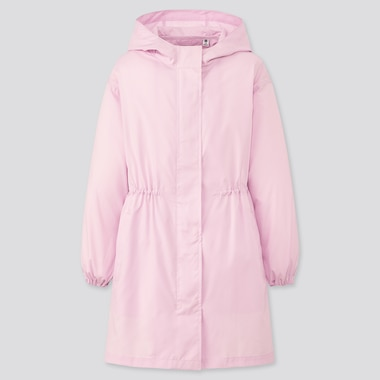 Girls Pocketable Uv Protection Coat, Pink, Medium