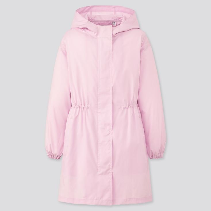 Girls Pocketable Uv Protection Coat, Pink, Large