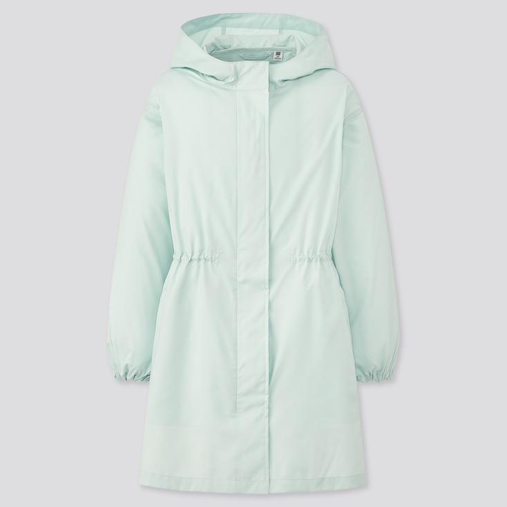 Girls Pocketable Uv Protection Coat, Light Blue, Large