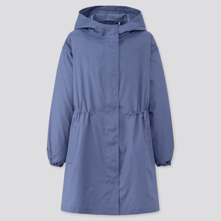 Girls Pocketable Uv Protection Coat, Blue, Large