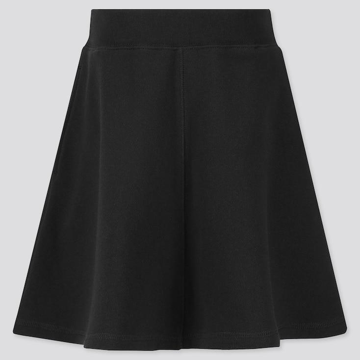 Girls Sweat Skirt, Black, Large