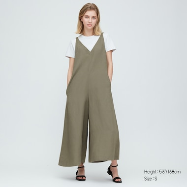 Women Linen Blended Jumpsuit, Olive, Medium