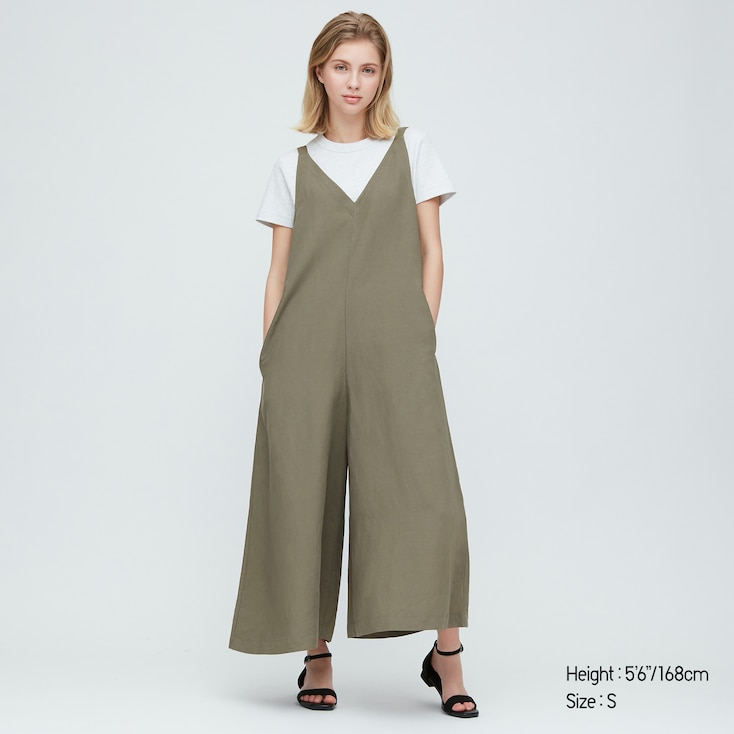 Women Linen Blended Jumpsuit, Olive, Large