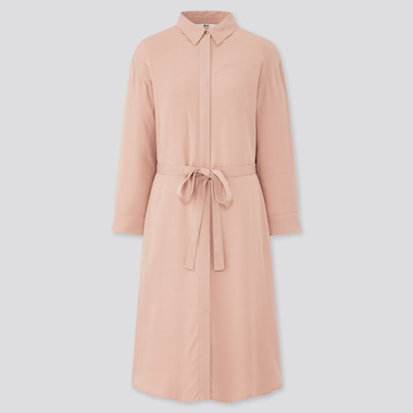 Women Rayon 3/4 Sleeved Shirt Dress