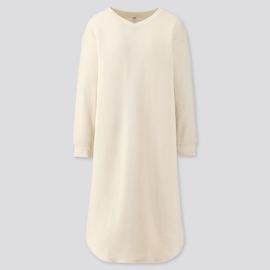 WOMEN WAFFLE V-NECK LONG-SLEEVE DRESS, OFF WHITE, medium