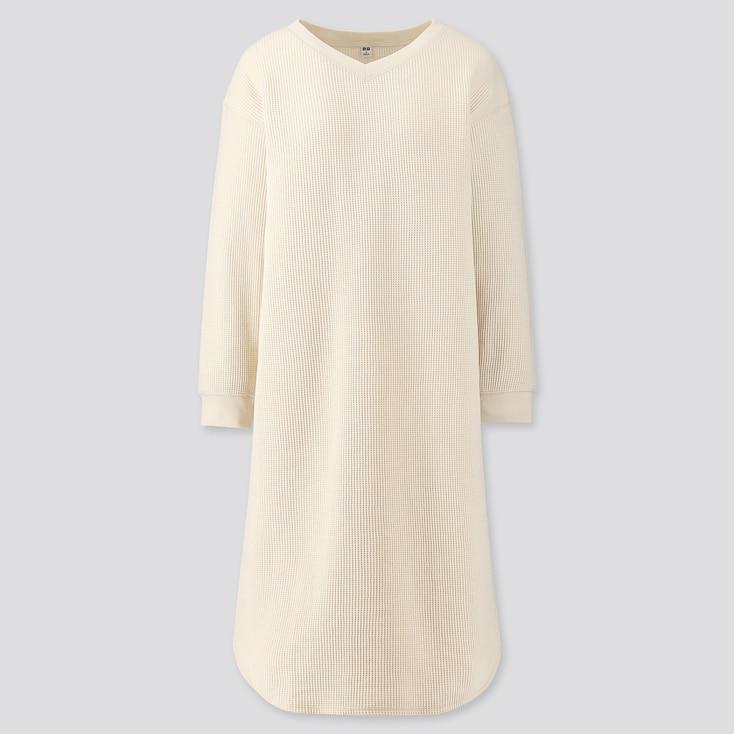 Women Waffle V-Neck Long-Sleeve Dress, Off White, Large
