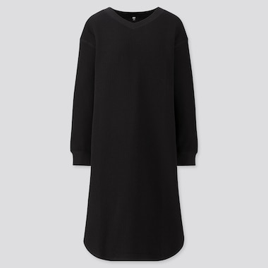 WOMEN WAFFLE V-NECK LONG-SLEEVE DRESS, BLACK, medium